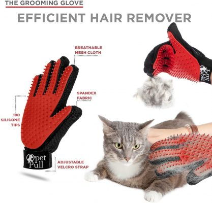 Complete Professional Pet Grooming Kit | Self Cleaning Slicker Brush for Dogs & Cats | Pro Grooming Brush Effectively Reduces Shedding Fur | Pet Hair Remover Brush Gloves | Combo Gift Set