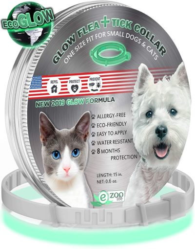 еZOOlife Glow ECO Pest Control Collar: Hypoallergenic Waterproof Protection Long Lasting Flea and Tick Prevention Fully Adjustable one Size fits All