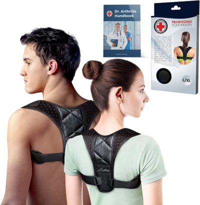Doctor Developed Posture Support / Posture Correct / Stabilizer/Back Brace & Doctor Written Handbook - Fully Adjustable for Upper & Lower Back Pain & Support. Suitable for Men & Women (Medium)