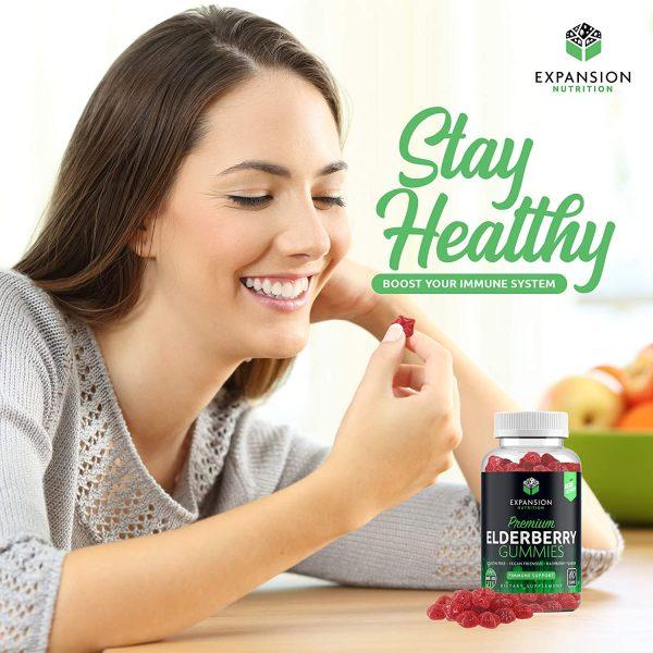 Elderberry Gummies with Vitamin C, Propolis & Echinacea | Immune System Booster Herbal Supplement 2 Pack (120 Gummies)