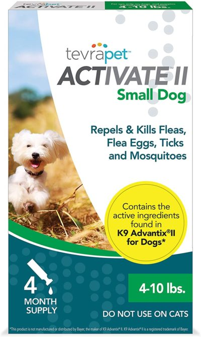TevraPet Activate II Flea and Tick Prevention for Dogs – Topical, 4-10 Lbs