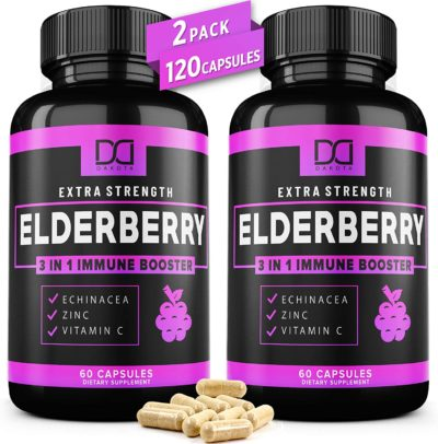 Organic Elderberry Capsules for Immune Support Booster -Zinc & Vitamin C Echinacea Extract Infused Syrup Supplement for Kids, Adults, Toddlers, and Elderly - (2 Pack)