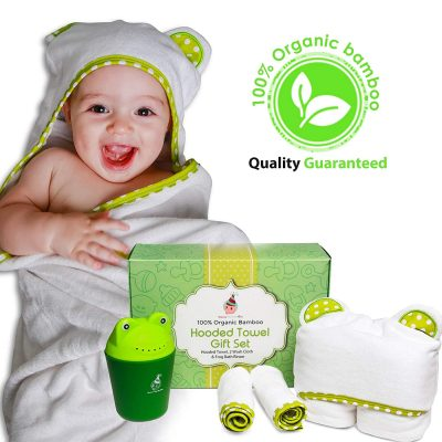 100% Organic Bamboo Hooded Baby Towel Gift Set with 2 wash Cloth and Frog Shampoo Rinser Cup | 0-5 Years Old | Perfect as a Gift | Beach Towel |Unique,Unisex, Perfect for Newborn, Infant and Toddlers