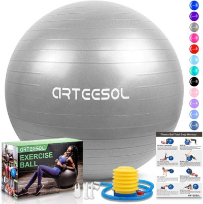 arteesol Exercise Ball, Anti-Burst Yoga Ball with Quick Pump, 45cm/55cm/65cm/75cm/85cm Thick Balance Ball Chair for Birthing Fitness Workout Stability Pilates, Gym & Home