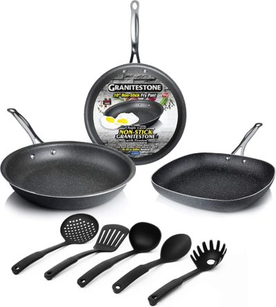 GRANITESTONE 2434 8-Piece Kitchen Set - Pans and Silicon Spatula, Non-stick, No-warp, Scratch-Resistant PFOA-Free As Seen On TV