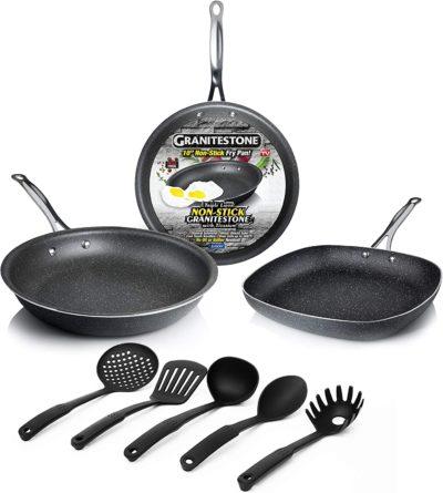 GRANITESTONE 2434 8-Piece Kitchen Set - Pans and Silicon Spatula, Non-stick, No-warp, Scratch-Resistant PFOA-Free As Seen On TV