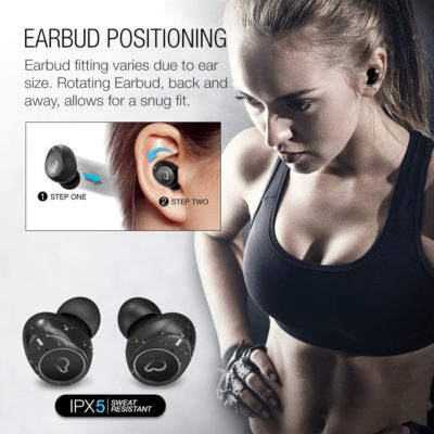 Purity True Wireless Earbuds with Immersive Sound, Bluetooth 5.0 Earphones in-Ear with Charging Case Easy-Pairing Stereo Calls/Built-in Microphones/IPX5 Sweatproof/Pumping Bass for Sports,Workout,Gym