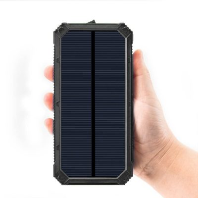 Solar Chargers 30,000mAh, Dualpow Portable Dual USB Solar Battery Charger External Battery Pack Phone Charger Power Bank with Flashlight for Smartphones Tablet Camera (Black)