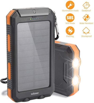 Solar Charger 10000mAh Solar Power Bank External Backup Battery Pack IP65 Water-Resistant 2 USB Ports Portable Phone Charger with 2LED Flashlight, Carabineer and Compass