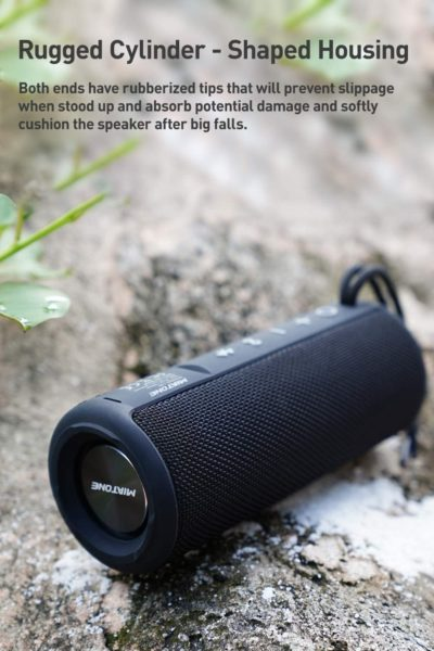 MIATONE Outdoor Portable Bluetooth Speakers Waterproof Wireless Speaker (Black)