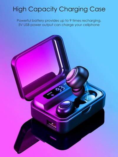 Wireless Earbuds Bluetooth Headphones Mini Bluetooth Earbuds Super Bass Wireless Headset with LED Power Display Charging Case, Built-in Microphone, Sport in-Ear Ear Buds with Charging Case