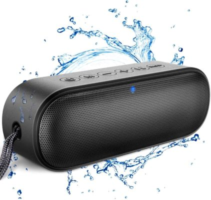Kunodi A15 Portable Bluetooth Speaker V5.0, Wireless Shower Speaker IPX7 Outdoor Waterproof with 12W HD Sound, Exceptional Bass + Mode, Built in Mic, 18-Hour Playtime for iPhone, Samsung and More