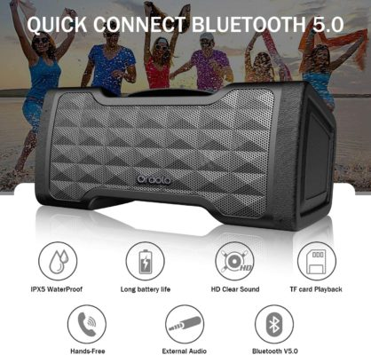 Oraolo M91 Bluetooth Speakers, Waterproof Wireless Speaker with Bluetooth, 24W Stereo Sound, Built-in Mic, 20 Hours Playtime Outdoor Speakers