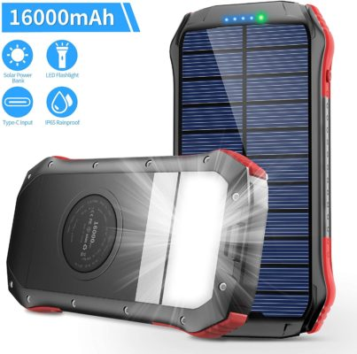 Solar Charger 16000mAh, Portable Solar Power Bank External Backup Battery, Dual Outputs & Type-C Input, Waterproof Solar Phone Charger, Solar Power Pack for Smartphones, 15 LED Flashlight for Outdoor