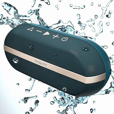 INSMY Portable Bluetooth Speakers, 20W Wireless Speaker Loud Stereo Sound Rich Bass, IPX7 Waterproof, TWS Mode, 24 Hours Playtime, Bluetooth 5.0 100ft Range, Built-in Mic for Outdoors Camping (Blue)