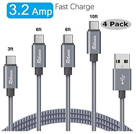USB Type C Cable 3.2A Fast Charging, Four Packs [3/6/6 / 10FT] Double Nylon Braided, Durable Armored C-Type Cable, Compatible with Samsung Galaxy S10 S10E, Z Flip, etc. USB C Charger [Gray]