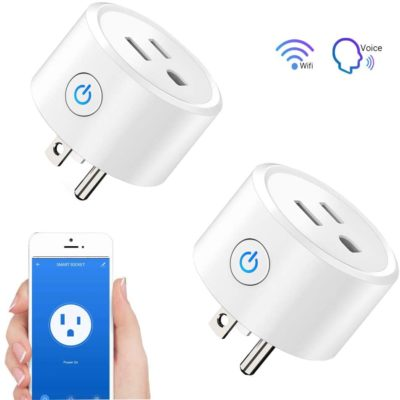 Wifi Smart Plug - 2 Packs Wifi Switch Compatible with Alexa Echo& Google Home,Tuya Smart Plug Remote Control Smart Life Outlet for Smart Home Life, DWFeng