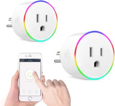 WiFi Smart Plug Mini Smart Outlet Work with Alexa& Google Home, Wireless Smart Socket with Night Light, Timer Function Device Sharing, Wall Plug No Hub Required APP Remote Control from Anywhere 2 Pack