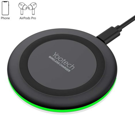Yootech Wireless Charger,Qi-Certified 10W Max Fast Wireless Charging Pad Compatible with iPhone SE 2020/11/11 Pro/11 Pro Max/XR/XS/X/8,Samsung Galaxy S20/Note 10/S10/S9,AirPods Pro(No AC Adapter)
