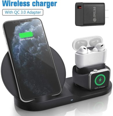 Wireless Charger for AirPods Pro with Adapter, Coobetter 3 in 1 Wireless Charging Station,Wireless Charging Stand Watch Charger Compatible with iPhone 11/11 pro /11 Pro Max/Xs/XS Max/XR/X / 8 /8P … …