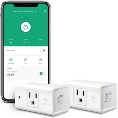 Etekcity Smart Plug with Auto Night Light, Energy Monitoring Smart Outlet Works with Aexa and Google Home, IFTTT, Compact Size, 15A, 1800W, ETL Listed (2 Pack)