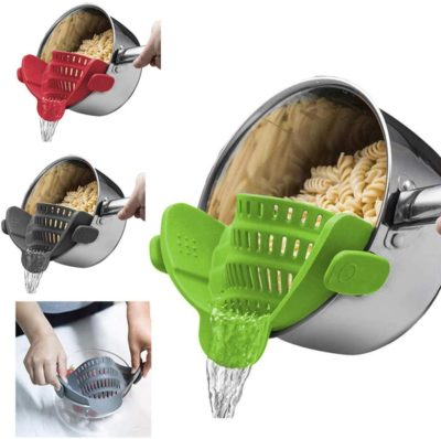 QIEZI Kitchen Strain Strainer Clip On Silicone Colander Fits All Pots Bowls Kitchen Accessories-Gray