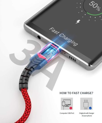 USB Type C Cable 3A Fast Charging, JSAUX(2-Pack 3.3ft+10ft) USB-A to USB-C Charge Braided Cord Compatible with Samsung Galaxy S10 S10E S9 S8 S20 Plus,Note 10 9 8,Z Flip, and Other USB C Charger(Red)