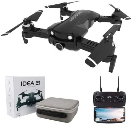 GPS Drones with Camera 4K for Adults, le-idea IDEA21 5G WiFi FPV Live Video with Adjustable Wide-Angle Camera and GPS Return Home Quadcopter, 16 Mins Long Flight Time RC Quadcotper Helicopter