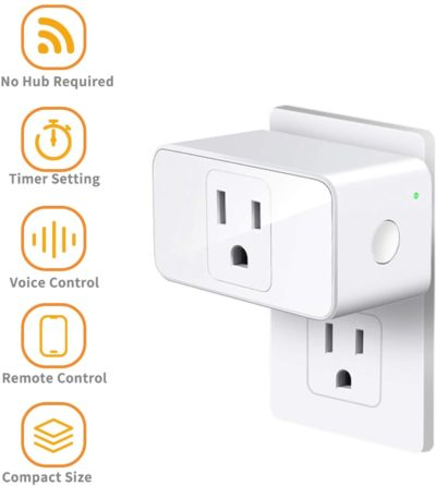 Smart Plug Refoss Smart WiFi Outlet Work with Alexa and Google home, Voice Control, Remote Control, Timing Fuction, 16 Amp, No Hub Required, 2 Pack