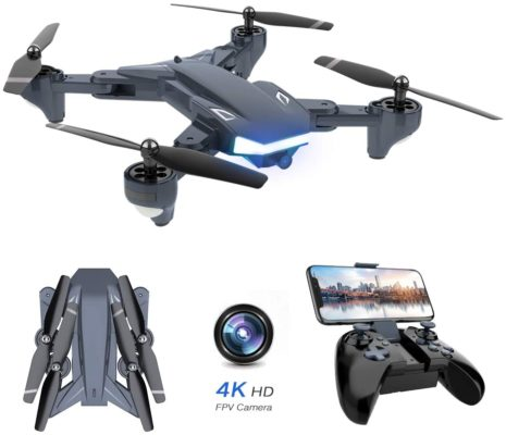 WiFi FPV Drone, Supkiir Foldable RC Quadcopter with 4K HD Camera, Portable Aircraft Toy for Beginners with Gravity Control, Image Tracking, Custom Flight Path, Gesture Control