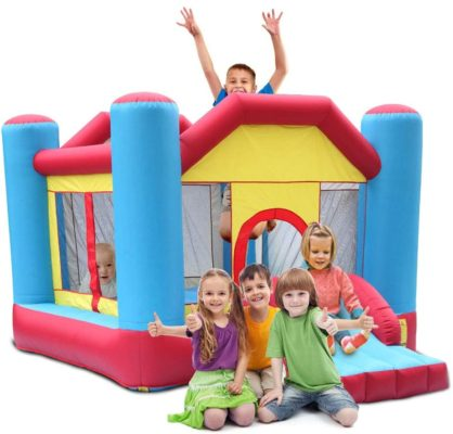 TiTa-Dong Inflatable Bounce House,Kids Indoor Outdoor Inflatable Castle Bounce House with Mesh Wall,Slide,Including Inflatable Castle,Patch Kit,Carrying Bag,8 Pcs Ground Stakes