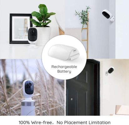 Security Camera Outdoor, Wireless Rechargable Battery Powered, 1080P Starlight Night Vision, PIR Motion Video for Home Surveillance, Support Google Assistant/Cloud Service/SD Slot | Reolink Argus 2