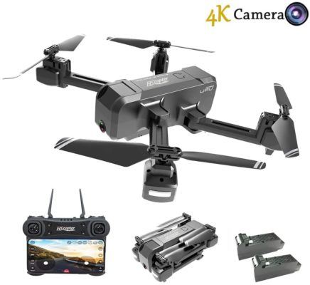 HScopter Foldable Drone with WiFi FPV Live Video 4K Camera and 720P Optical Flow Positioning Camera, Altitude Hold/Headless Mode/Trajectory Flight/APP Control,Perfect Present Gift for Birthday