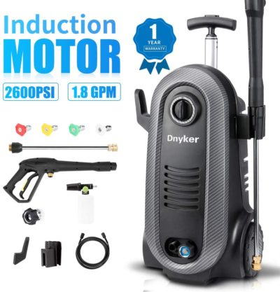 Dnyker Electric Power Washer, 2600PSI 1.75GPM Brushless Induction Electric Pressure Washer with Foam Cannon,5 Spray Tips,for Car,Garden,Furniture