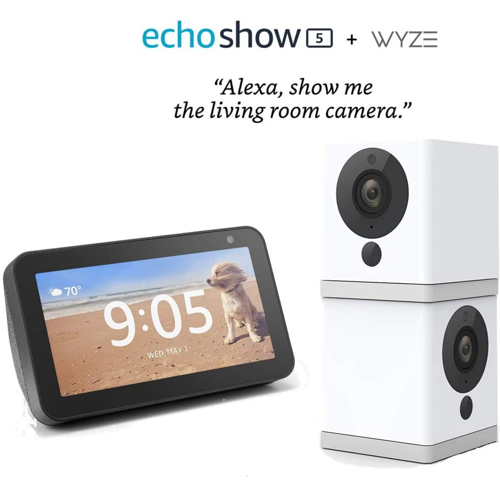 Wyze Cam 1080p HD Indoor Wireless Smart Home Camera Two Pack Bundle with Echo Show 5 (Charcoal)