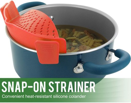 KUSINA - Silicone Pasta Strainer Snap on Clip on Rubber Cooking Strainer Gadget Heat Resistant Easy Kitchen Storage Dishwasher Safe - Red