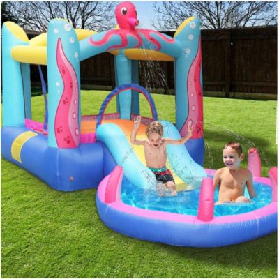 Bounce House with Water Slide | Inflatable Jumping Castle w/Slides & Sprinkler for Outdoor and Indoor, Inflatable Bouncer House with Air Blower,Backyards Playground Sets (from US, Multicolour)
