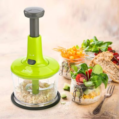 X-Chef Manual Food Chopper, 3 in 1 Chopping Food Processor Vegetable Hand Chopper for Veggie Blending Drying Salad Spinner, Upgraded One-Hand Press Operation, 5 Cup/1.2L