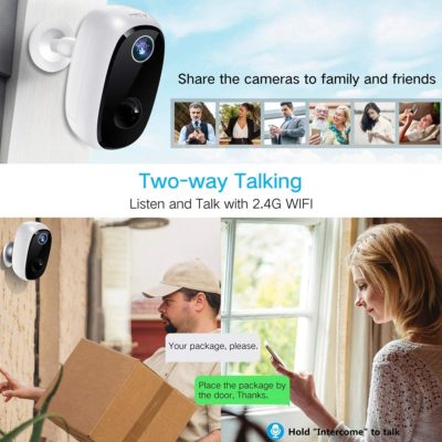 【32GB Include】 Wireless Outdoor Security Camera, MECO 1080P Rechargeable Battery WiFi Camera, Indoor/Outdoor Surveillance Home Camera with Motion Detection, Night Vision, 2-Way Audio, Waterproof
