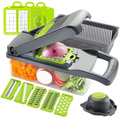 KEOUKE Vegetable Chopper Slicer Dicer - 12-in-1 Fruits Cutter Mandoline Slicer Food Chopper/Cutter with 7 Stainless Steel Blades, Adjustable Slicer & Dicer with Storage Container