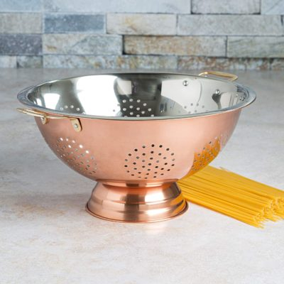 Ecolution Colander, Dishwasher Safe, Perforated Drainer Strainer Plated Exterior, for Pasta, Rice, Fruits, Vegetables and More, 12 inch, Copper and Stainless Steel