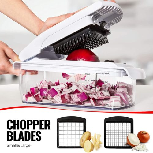 Fullstar Vegetable Chopper Dicer Mandoline Slicer - Food Chopper Vegetable Spiralizer Vegetable Slicer - Onion Chopper Salad Chopper Veggie Chopper Vegetable Cutter Food Slicer 11 Blades