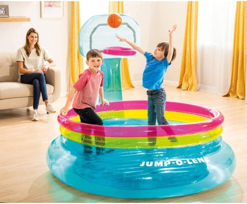 Intex 48265EP Shoot N Bounce Jump O Lene Indoor Toddler Kids Basketball Hoop Inflatable Bouncer, 77in x 72in x 60in, for Ages 3 to 6