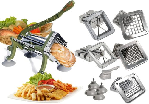 Tiger Chef French Fry Cutter Commercial Grade Heavy Duty Vegetable Slicer Machine with Suction Feet Complete Set - Includes 1/4, 3/8, and ½ inch, 6 and 8 Wedge Blade, Pusher Blocks and Cleaning Brush - Restaurant Fries Cutter Complete Combo Set