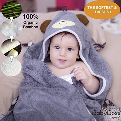 Premium Hooded Baby Towel, 100% Organic Bamboo, Free Baby Bib or Gloves, 35x35 for Newborns Infants Toddlers & Kids, for Boys and Girls at Bath Pool/Beach, Better Than Cotton(Gray)