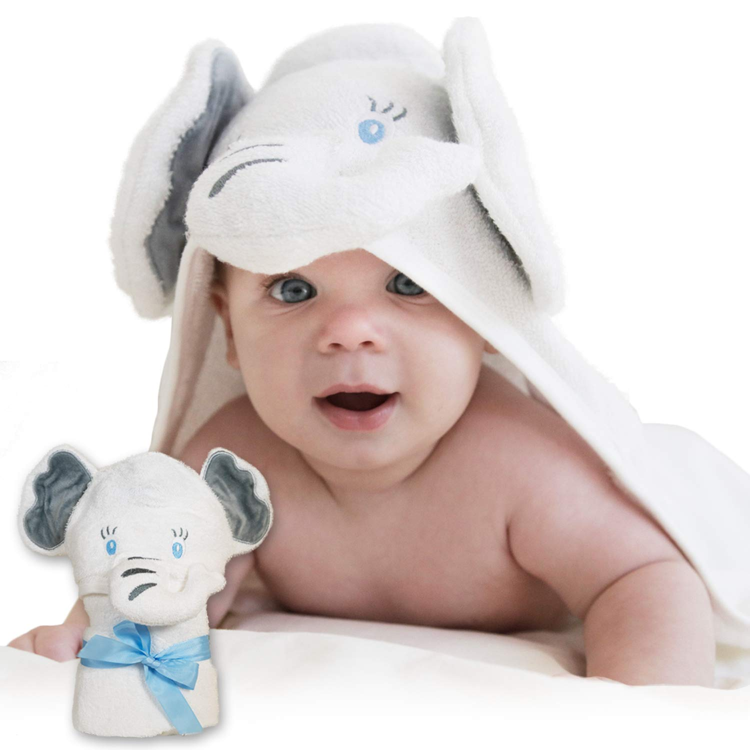 Organic Bamboo Baby Hooded Towel – Soft Baby Bath Towel with Elephant Hood, Safe for Newborns with Sensitive Skin – Large Baby Towel for Boys & Girls | Hooded Towels for Baby by Pupiki, 40x28""
