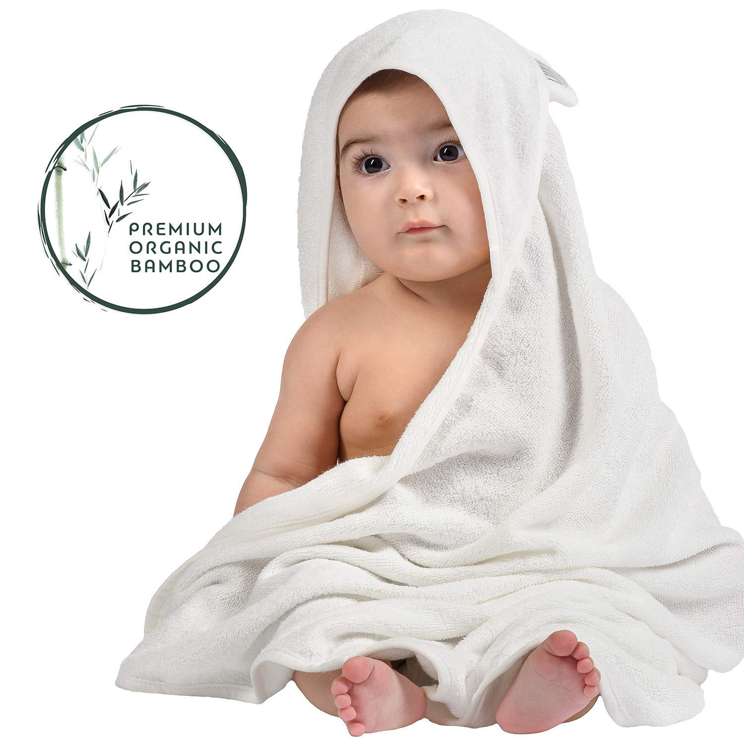 Parenting & Children London Organic Bamboo Hooded Baby Towel and Washcloth Set - Softest Unisex Bath Towel for Kids, Infants and Toddlers - Perfect for Girls and Boys (Grey)