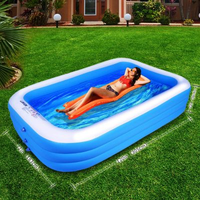 "Lunvon Family Inflatable Swimming Pool, 120"" X 72"" X 22"" Full-Sized, Lounge Pool for Kids, Adult, Toddlers for Ages 6+, Outdoor, Garden, Backyard, Summer Water Party"
