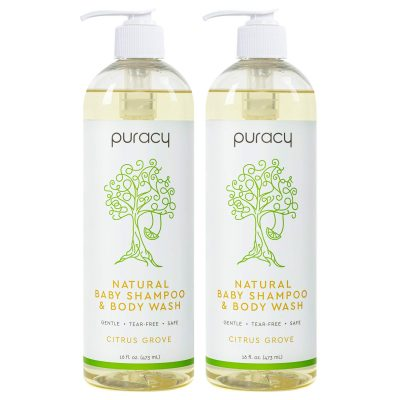 Puracy Baby Shampoo & Natural Body Wash, Tear-Free Hypoallergenic Bath Soap, 16 Ounce (2-Pack)