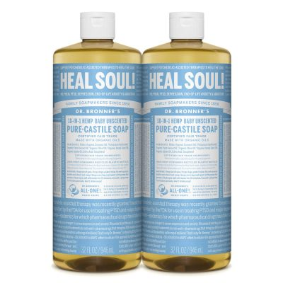 Dr. Bronner's - Pure-Castile Liquid Soap (Baby Unscented) - Made with Organic Oils, 18-in-1 Uses: Face, Hair, Laundry and Dishes, For Sensitive Skin and Babies (32 Fl Oz (Pack of 2))
